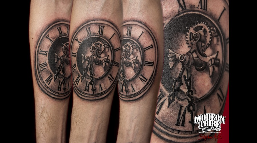 Clock Black Grey Forearm
