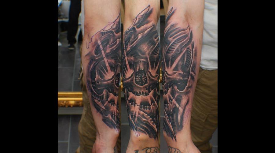 Blackandgrey  Bioorgnic  Skull Black Grey Forearm