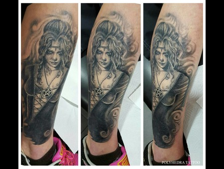 Realistic Gothic Girl Healled Cover Up  Black Grey Lower Leg