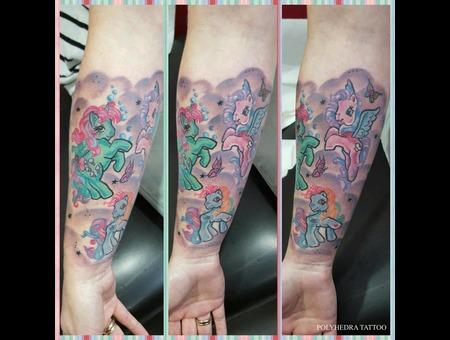 Colorful Little Pony Unicorn Tattoo Color Forearm