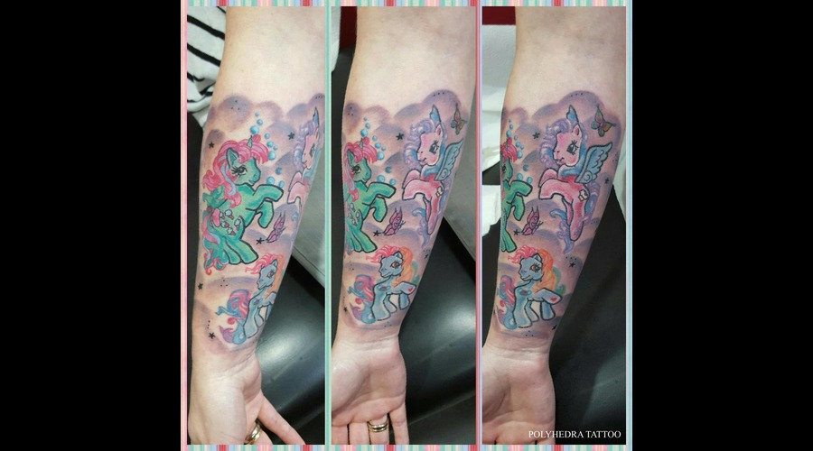 Colorful Little Pony Unicorn Tattoo Color Forearm