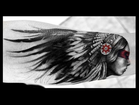 Indian  Headdress  Realism  Feathers  Woman Black Grey Forearm