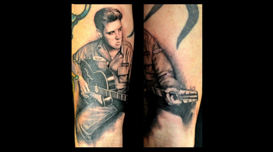 Elvis  Realism  Black Grey Forearm
