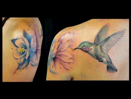 Hummingbird  Columbine  Watercolor Color Shoulder