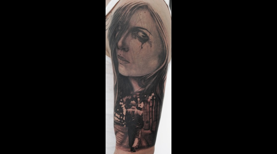 Realistic Lady Face Portrait Black Grey Arm