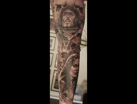 Religious Black And Grey  Realistic Black Grey Arm