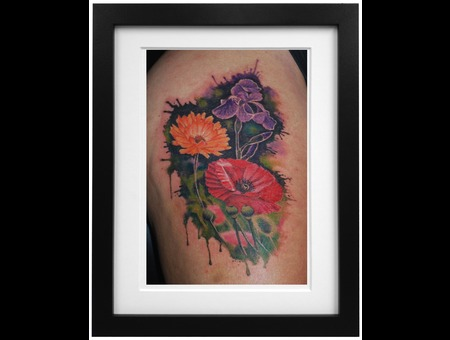 Watercolour Flowers Color Thigh
