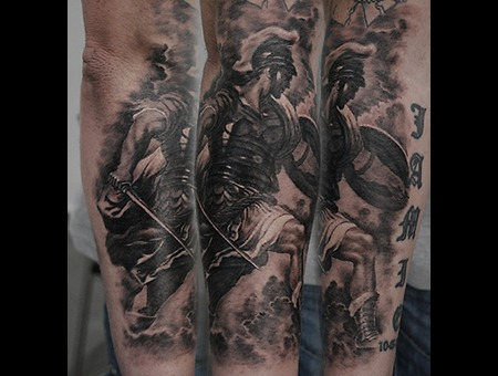 Soldier Realistic Black Grey Forearm