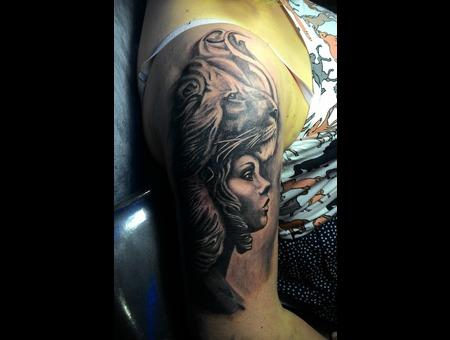 Lion Girl Portrait Black Grey Shoulder