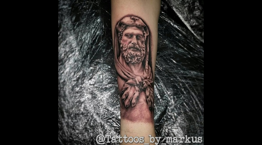 Hercules  Statue  Greek Black Grey Forearm