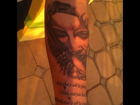Mother Mary  Portrait  Black Grey Forearm