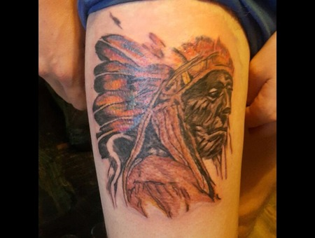 Indian  Portrait Black Grey Thigh