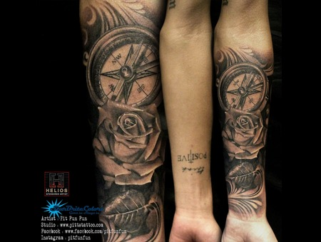 Realistic Compass And Rose Tattoo By Pit Fun Black Grey Forearm