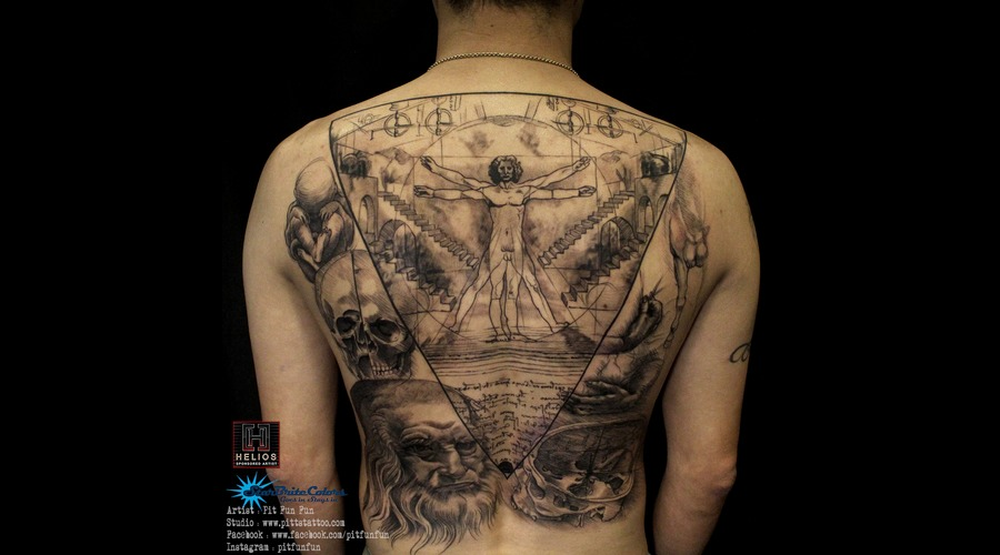 Da Vincci Artwork   Vitruvian Man Tattoo By Pit Fun Black Grey