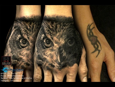 Realistic Owl Cover Up Tattoo By Pit Fun Black Grey