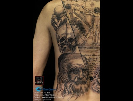Closed Up View Of This Da Vincci Drawing Tattoo By Pit Fun Black Grey Back