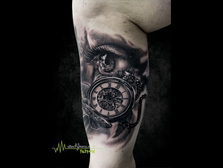 Eye  Pocket Clock  Watch  Realistic  Black An Grey  Leaves Black Grey Arm