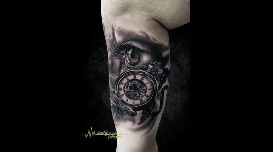 Eye  Pocket Clock  Watch  Realistic  Black An Grey  Leaves Black Grey Arm