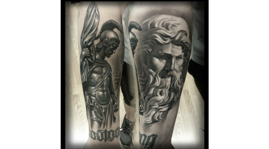 Black And Grey  Statue  Realism Black Grey Forearm