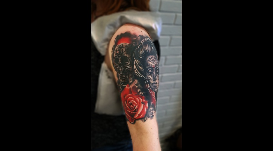Day Of The Dead Catrina Muerte Sugarskull Skull Sugar Rose Color Arm
