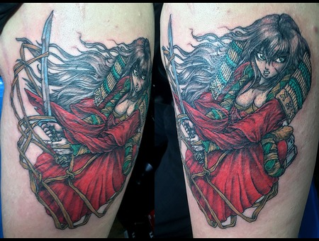 Anime Samurai Girl Color Arm