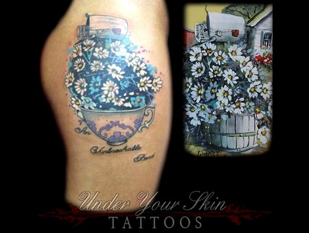 Flowers In Teacup  Grandmother Memorial Color Thigh
