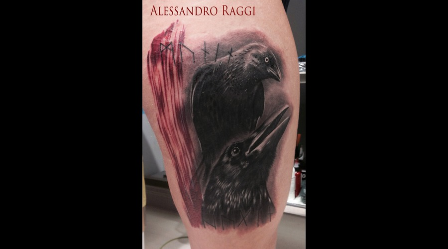 Crow Trash Polka Style Realistic Black Grey Thigh
