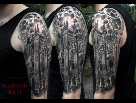 Milan Realistic Architecture Gothic Black Grey Arm