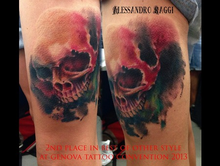 Watercolor Realistic Skull Color Thigh