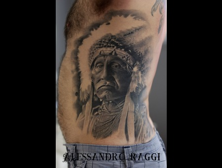 Indian Of America Realistic Big Tattoo Black Grey Ribs