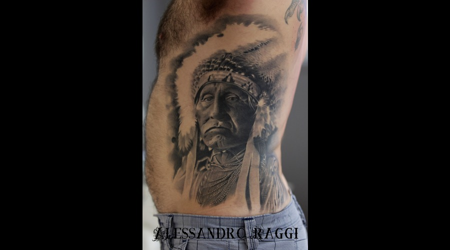 Indian Of America Realistic Big Tattoo Black Grey Ribs