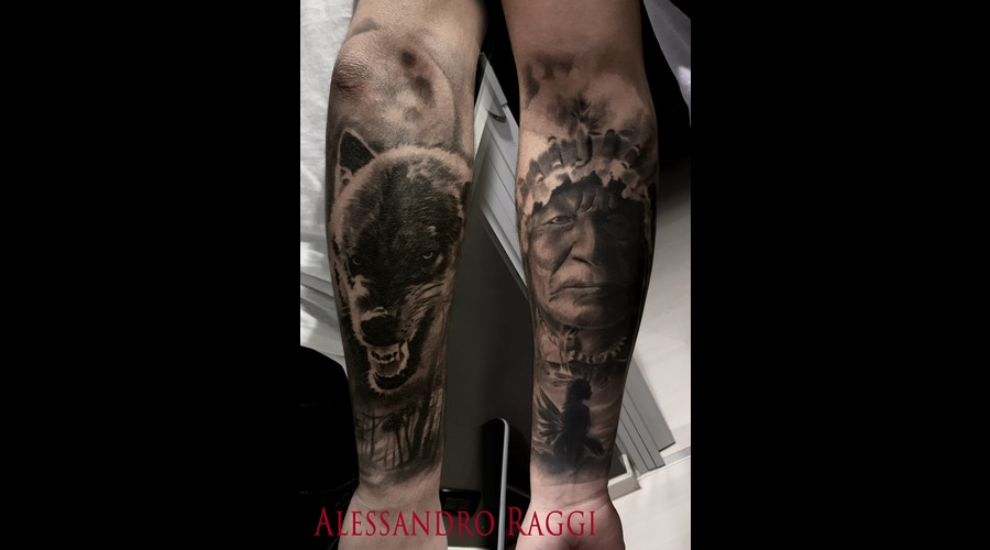 Indian Of America Realistic Wolf Moon Black Grey Forearm