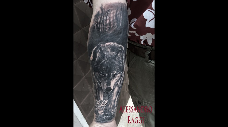Water Realistic Wolf Forest Dark Black Grey Forearm