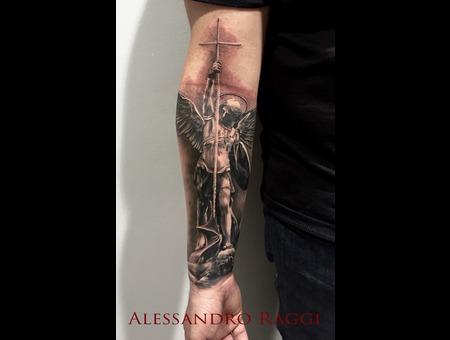 Statue Realistic Saint Michael Gothic Black Grey Forearm