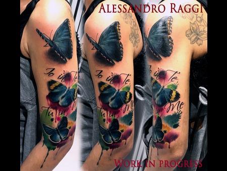Butterfly Realistic Watercolor Color Splash Color Arm