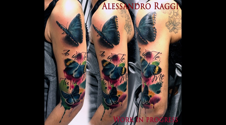 Butterfly Realistic Watercolor Color Splash Color Arm