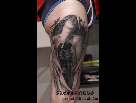 Angel Demon Realistic Gothic Dark Black Grey Thigh