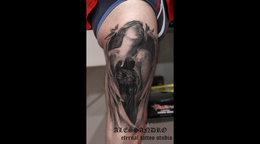 Angel Demon Realistic Gothic Dark Black Grey Thigh