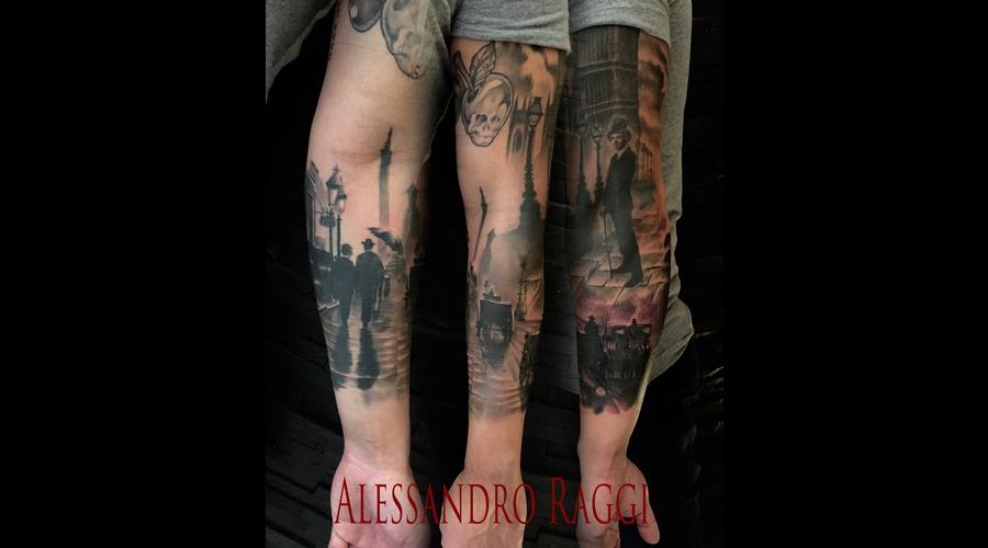 London Vintage Realistic Piccadilly Dark Black Grey Forearm