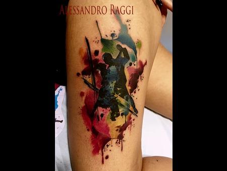 Watercolor Dancers Color Splash Sketch Realistic Color Thigh
