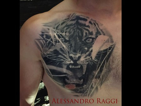 Tiger Realistic Forest Healed Dark Black Grey Chest