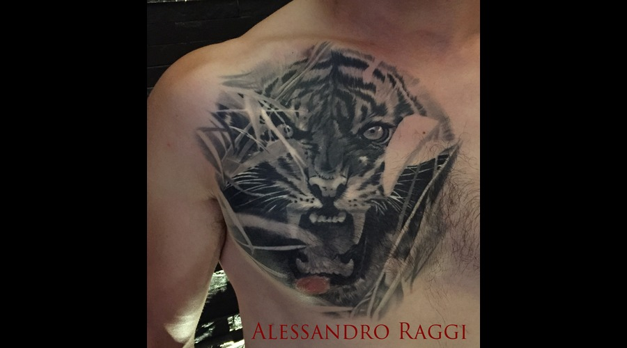 Tiger Realistic Forest Healed Dark Black Grey Chest