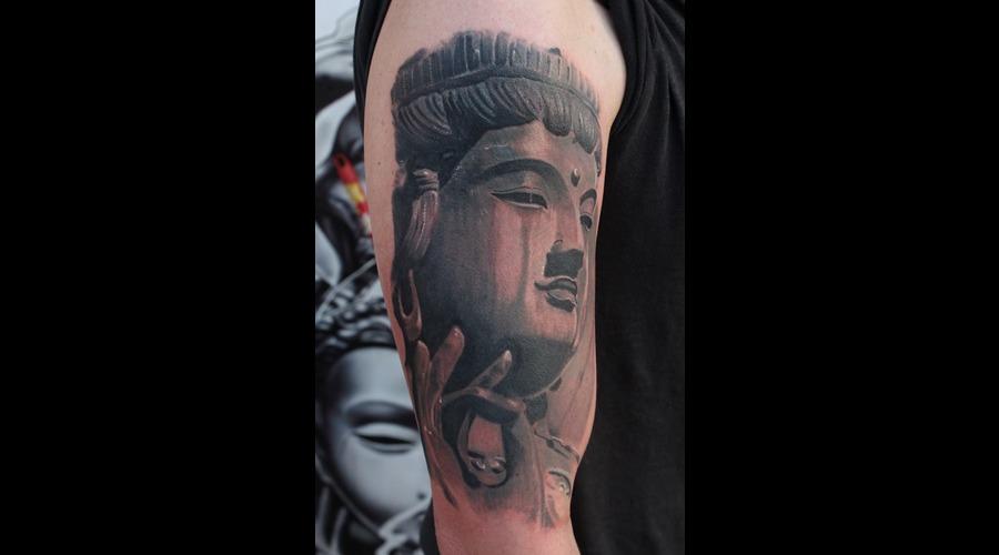 Buddha Tattoo Mumbai  Black Grey Arm