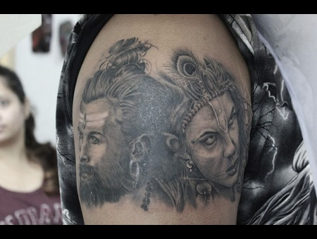 Fusion Of Gods... Shiva And Krishna Black Grey Arm