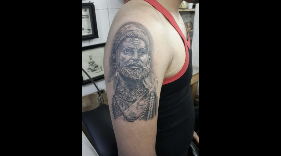 Shivaji Tattoo India Black Grey Arm