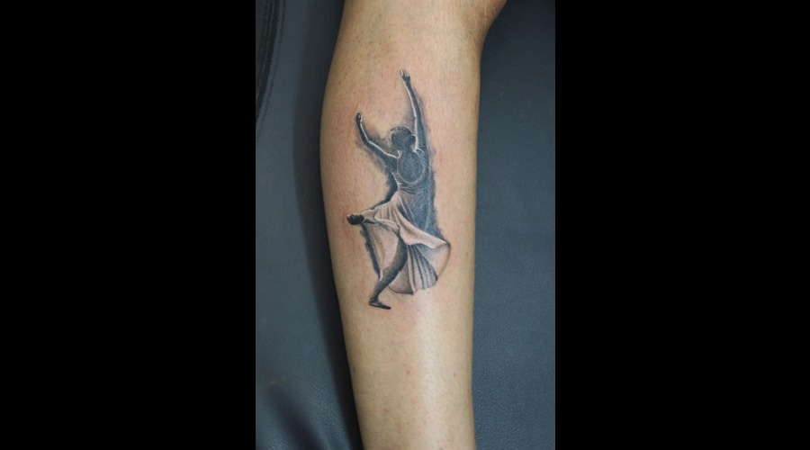 Ballet Dancer Tattoo Black Grey Lower Leg