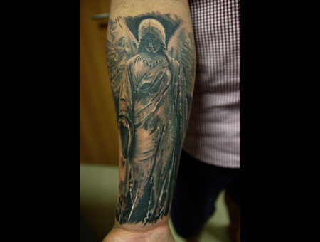 Angel Tattoo With Blackandgreycolor Realism  Black Grey Forearm