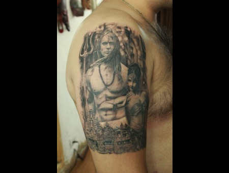 Shiva And Parvati Tattoo  Black Grey Arm