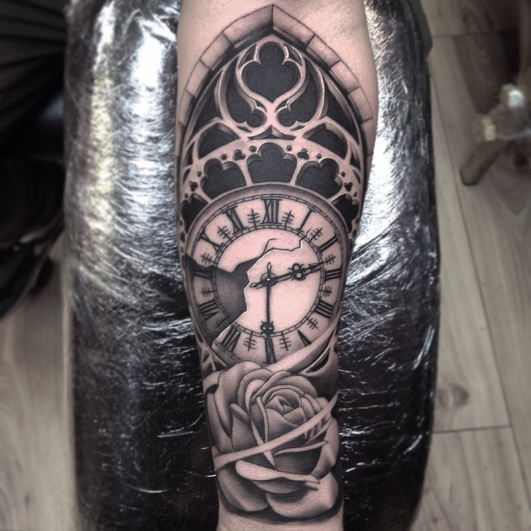 Part Of A Sleeve Black Grey Forearm