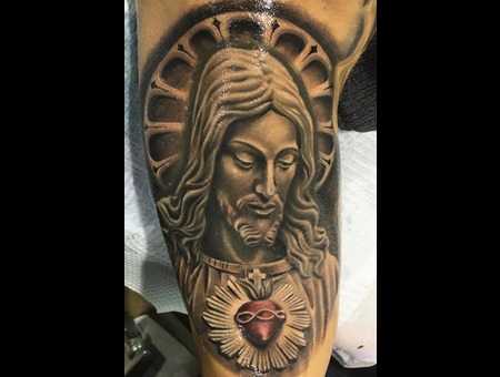 Jesus Sagrado Corazon Heart Realistic Black Grey Arm